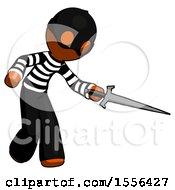 Orange Thief Man Sword Pose Stabbing Or Jabbing