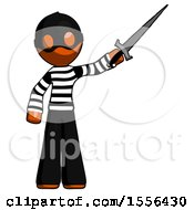 Orange Thief Man Holding Sword In The Air Victoriously