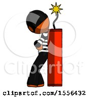 Orange Thief Man Leaning Against Dynimate Large Stick Ready To Blow