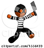 Orange Thief Man Psycho Running With Meat Cleaver