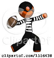 Poster, Art Print Of Orange Thief Man Throwing Football