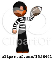 Poster, Art Print Of Orange Thief Man Holding Football Up
