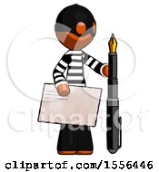 Orange Thief Man Holding Large Envelope And Calligraphy Pen