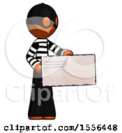 Orange Thief Man Presenting Large Envelope