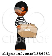 Orange Thief Man Holding Package To Send Or Recieve In Mail