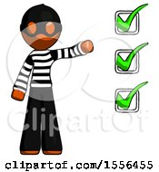 Orange Thief Man Standing By List Of Checkmarks