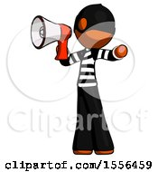 Orange Thief Man Shouting Into Megaphone Bullhorn Facing Left
