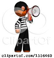 Orange Thief Man Shouting Into Megaphone Bullhorn Facing Right