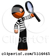 Orange Thief Man Inspecting With Large Magnifying Glass Facing Up