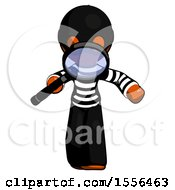 Orange Thief Man Looking Down Through Magnifying Glass