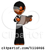 Poster, Art Print Of Orange Thief Man Reading Book While Standing Up Facing Away