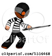 Orange Thief Man Stabbing With Ninja Sword Katana