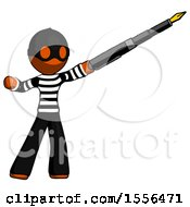 Orange Thief Man Pen Is Mightier Than The Sword Calligraphy Pose