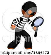 Orange Thief Man Inspecting With Large Magnifying Glass Right