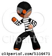 Orange Thief Man Martial Arts Defense Pose Left
