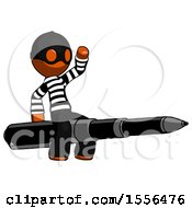 Orange Thief Man Riding A Pen Like A Giant Rocket