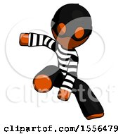 Orange Thief Man Action Hero Jump Pose