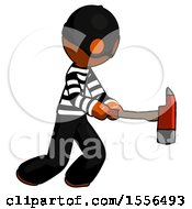 Orange Thief Man With Ax Hitting Striking Or Chopping
