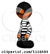 Orange Thief Man Kneeling Angle View Left