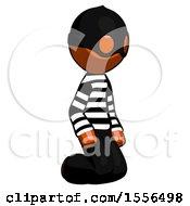 Orange Thief Man Kneeling Angle View Right