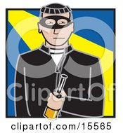 Male Robber Dressed In Black Wearing A Mask And Holding A Bottle Clipart Illustration