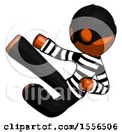 Orange Thief Man Flying Ninja Kick Left