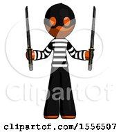Orange Thief Man Posing With Two Ninja Sword Katanas Up