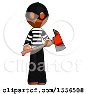 Orange Thief Man Holding Red Fire Fighters Ax