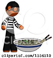 Poster, Art Print Of Orange Thief Man And Noodle Bowl Giant Soup Restaraunt Concept