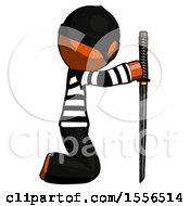 Orange Thief Man Kneeling With Ninja Sword Katana Showing Respect