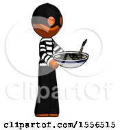 Orange Thief Man Holding Noodles Offering To Viewer