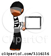 Orange Thief Man Show Tablet Device Computer To Viewer Blank Area