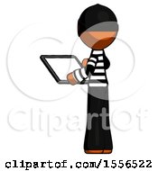 Orange Thief Man Looking At Tablet Device Computer With Back To Viewer
