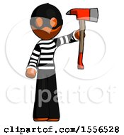 Orange Thief Man Holding Up Red Firefighters Ax