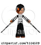 Orange Thief Man Posing With Two Ninja Sword Katanas