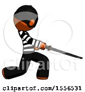 Orange Thief Man With Ninja Sword Katana Slicing Or Striking Something