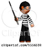 Orange Thief Man Standing Up With Ninja Sword Katana
