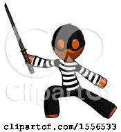 Orange Thief Man With Ninja Sword Katana In Defense Pose