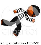 Orange Thief Man Running While Falling Down