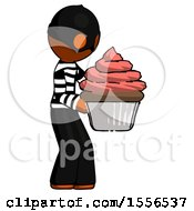 Orange Thief Man Holding Large Cupcake Ready To Eat Or Serve