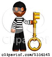 Orange Thief Man Holding Key Made Of Gold