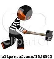 Orange Thief Man Hitting With Sledgehammer Or Smashing Something