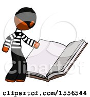 Poster, Art Print Of Orange Thief Man Reading Big Book While Standing Beside It