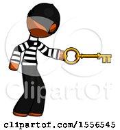 Orange Thief Man With Big Key Of Gold Opening Something