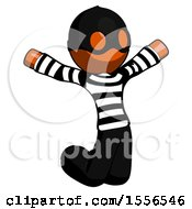 Orange Thief Man Jumping Or Kneeling With Gladness