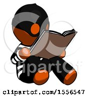 Poster, Art Print Of Orange Thief Man Reading Book While Sitting Down