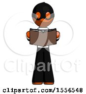 Poster, Art Print Of Orange Thief Man Reading Book While Standing Up Facing Viewer
