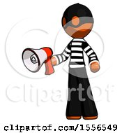 Orange Thief Man Holding Megaphone Bullhorn Facing Right