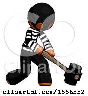 Orange Thief Man Hitting With Sledgehammer Or Smashing Something At Angle