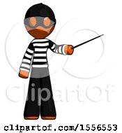 Orange Thief Man Teacher Or Conductor With Stick Or Baton Directing